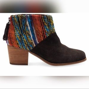 Toms Leila Ankle Boot Bootie Brown Suede & Knit 10